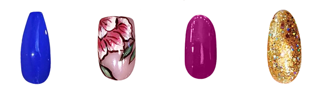 group of nail designs