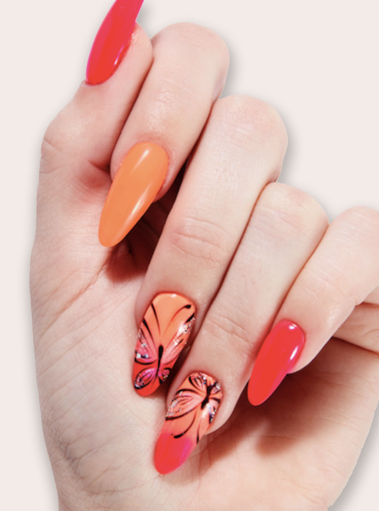 red and orange manicure